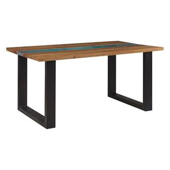 Stół do jadalni drewniany blat czarne metalowe nogi niebieski element z żywicy epoksydowej 160 x 90 cm styl industrialny