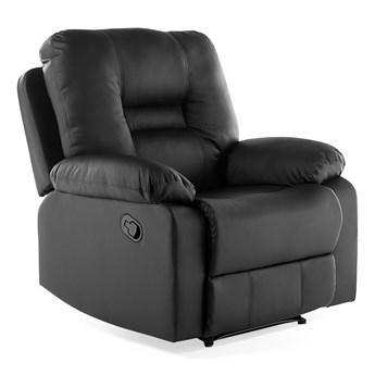 Rozkładany fotel telewizyjny czarny z funkcją relaks ekoskóra salon duży pokój