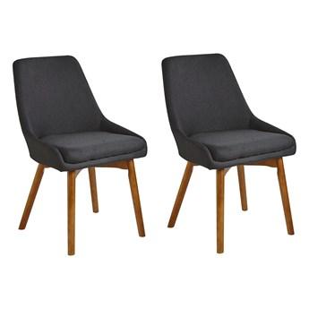 Zestaw 2 krzeseł czarny tapicerowany poliester drewniane ciemne nogi grube siedzisko