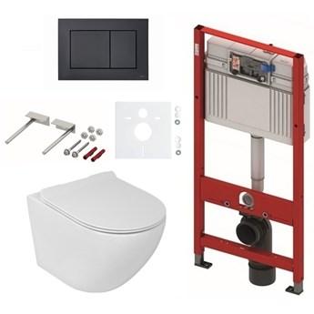 Zestaw TECE stelaż podtynkowy do WC z przyciskiem (czarny mat)+ miska WC z deską