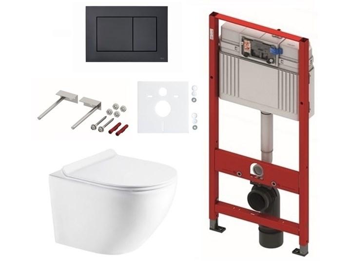 Zestaw stelaż podtynkowy do WC TECE z przyciskiem (czarny mat) + miska WC z deską