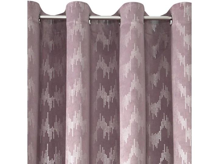Zasłona Welwetowa Bianka 140x250cm - Pudrowy - Przelotki Kolor Różowy 140x250 cm Poliester Bawełna Wzór Nadruk