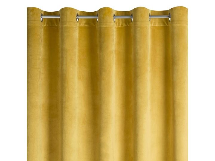 Zasłona Welwetowa Melanie 135x250cm - Musztardowy - Przelotki 135x250 cm Poliester 140x250 cm Bawełna Kolor Żółty