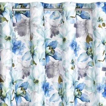 Zasłona Welwetowa Lillie 140x250cm - Kremowy/Niebieski - Przelotki