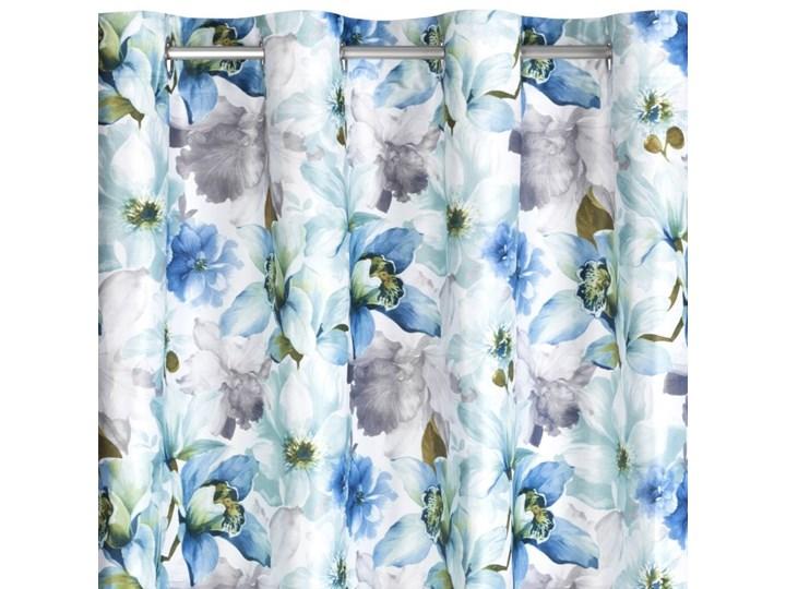 Zasłona Welwetowa Lillie 140x250cm - Kremowy/Niebieski - Przelotki Bawełna 140x250 cm Poliester Mocowanie Kółka