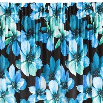 Zasłona Welwetowa Kleo 135x270cm - Czarny/Niebieski - Taśma