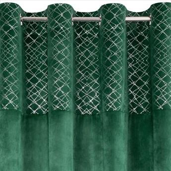 Zasłona Welwetowa Suzi 140x250cm - Ciemny Zielony - Przelotki