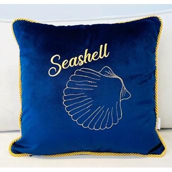 PODUSZKA WELUROWA OZDOBNA Z DOWOLNYM HAFTEM WYBIERZ KOLOR SEA SIDE NAVY 45 X 45 CM   seashell