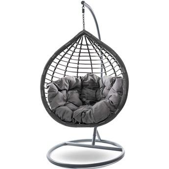 Fotel wiszący ogrodowy szary  - kosz huśtawka - SC004