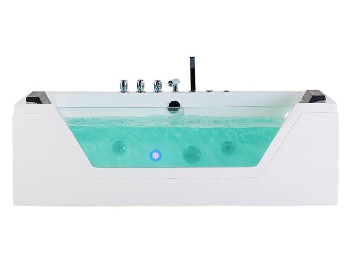 Wanna biała akrylowa 150 x 71 cm LED hydromasaż zagłówki prostokątna nowoczesna Prostokątne Kolor Biały