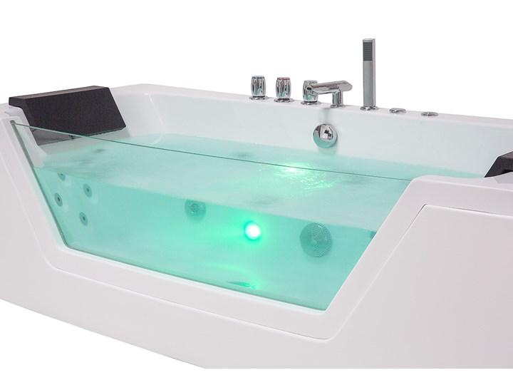 Wanna biała akrylowa 150 x 71 cm LED hydromasaż zagłówki prostokątna nowoczesna Prostokątne Kolor Biały Kategoria Wanny z hydromasażem