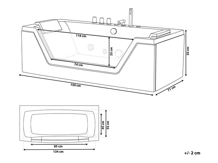 Wanna biała akrylowa 150 x 71 cm LED hydromasaż zagłówki prostokątna nowoczesna Kolor Biały Prostokątne Kategoria Wanny z hydromasażem