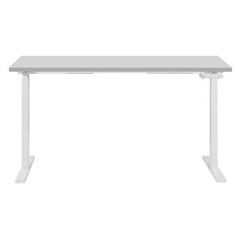 Regulowane biurko szaro-białe stalowa rama ręczna zmiana wysokości 130 x 72 cm nowoczesne