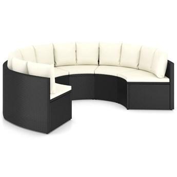 vidaXL 6-częściowa sofa ogrodowa z poduszkami, rattan PE, czarna