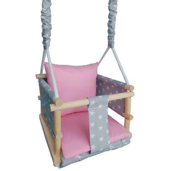Różowo-szara huśtawka dla dziewczynki 3w1 - Lena