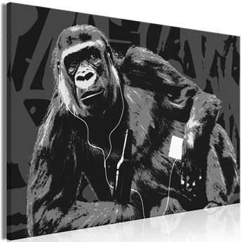 Obraz - Popartowa małpa (1-częściowy) wąski szary