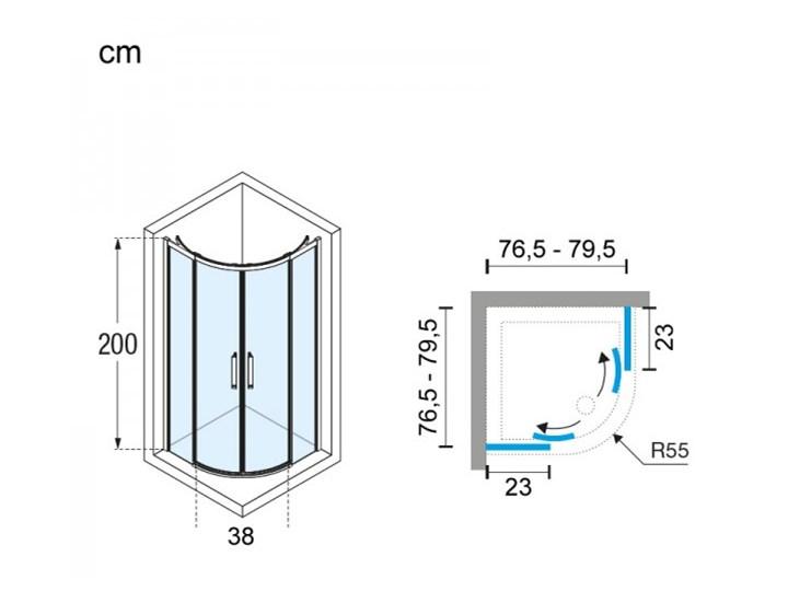 Novellini Rose Rosse kabina prysznicowa półokrągła 80 cm ROSER80-1K Rodzaj drzwi Rozsuwane Narożna Wysokość 200 cm Kategoria Kabiny prysznicowe
