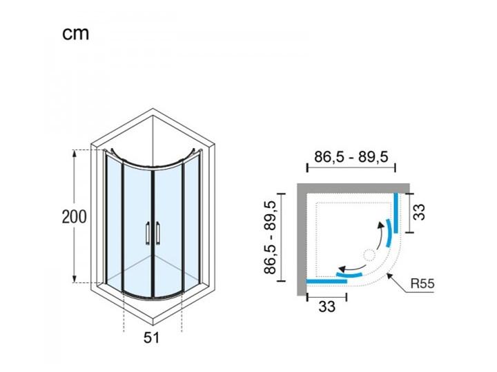 Novellini Rose Rosse kabina prysznicowa półokrągła 90 cm ROSER90-1K Rodzaj drzwi Rozsuwane Wysokość 200 cm Narożna Kategoria Kabiny prysznicowe