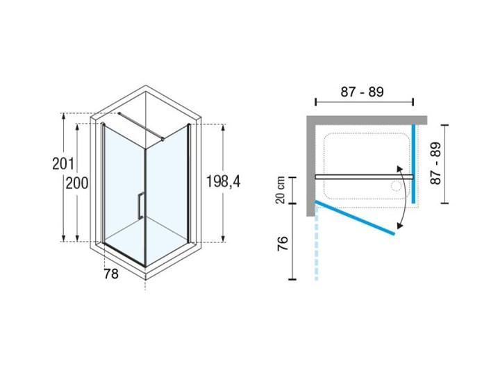 Novellini Young 2.0 G+F kabina prysznicowa kwadratowa 90 cm czarny mat Y2G871H+Y2FG871H Wysokość 200 cm Kategoria Kabiny prysznicowe