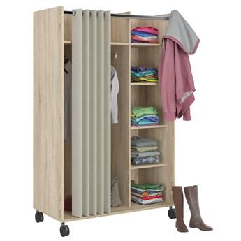Otwarta szafa na kółkach z materiałową zasłoną Handy dąb sonoma