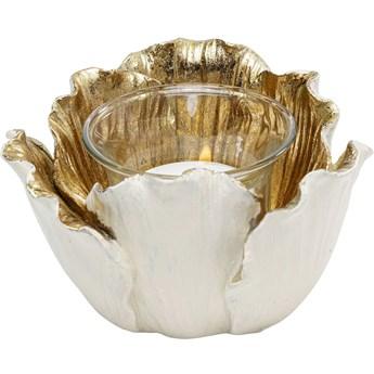 Świecznik na tealighty Flower Bloom Ø8 cm kremowo-złoty