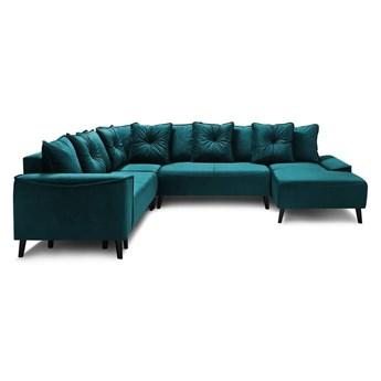 Morska aksamitna sofa rozkładana w kształcie U Bobochic Paris Panoramique XXL Hera Bis, prawostronna