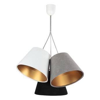 Potrójna szaro-biało-czarna z złotym wnętrzem lampa wisząca Selena