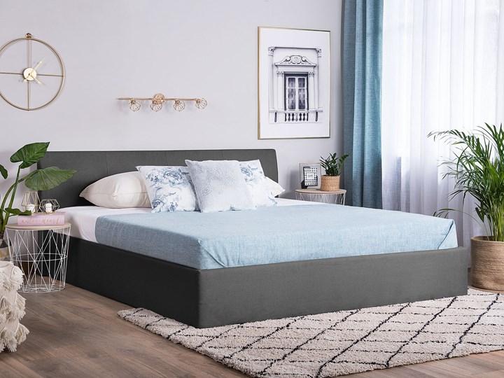 Łóżko ze stelażem szare tapicerowane materiałem z pojemnikiem 160 x 200 cm minimalistyczny wygląd Kategoria Łóżka do sypialni Łóżko tapicerowane Rozmiar materaca 160x200 cm