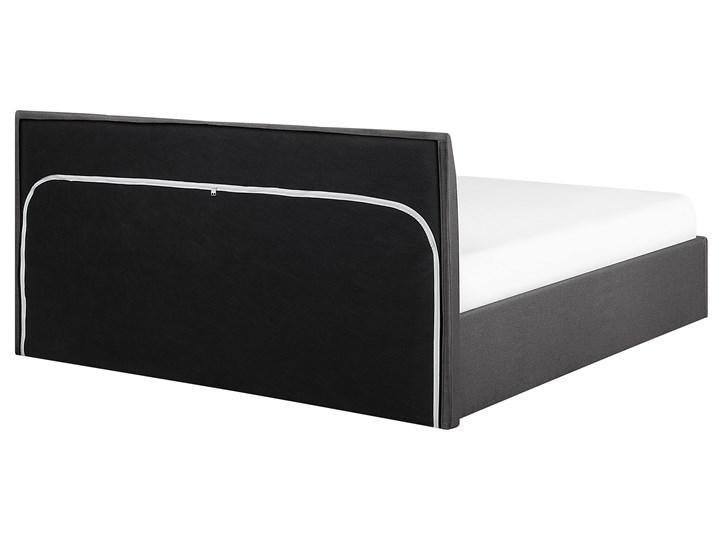 Łóżko ze stelażem szare tapicerowane materiałem z pojemnikiem 160 x 200 cm minimalistyczny wygląd Łóżko tapicerowane Kategoria Łóżka do sypialni