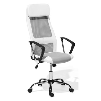 Krzesło biurowe szaro-białe ekoskóra siatka obrotowe regulacja wysokości wysokie oparcie zagłówek