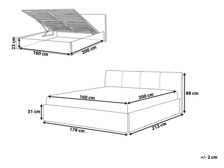 Łóżko ze stelażem szare tapicerowane materiałem z pojemnikiem 160 x 200 cm minimalistyczny wygląd Styl Nowoczesny Łóżko tapicerowane Kategoria Łóżka do sypialni