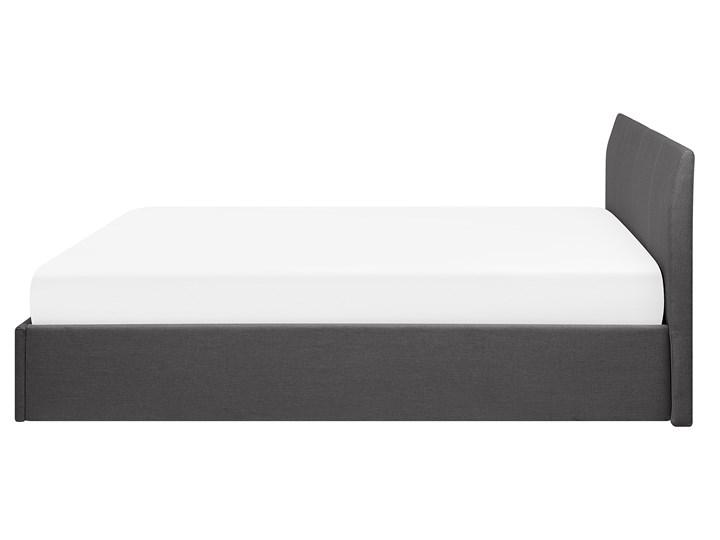Łóżko ze stelażem szare tapicerowane materiałem z pojemnikiem 160 x 200 cm minimalistyczny wygląd Łóżko tapicerowane Kategoria Łóżka do sypialni Kolor Szary