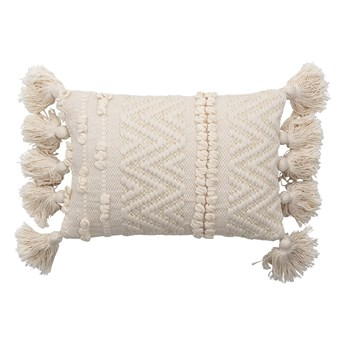 Biała poduszka dekoracyjna Bloomingville Cotton, 20x35 cm