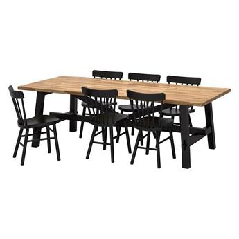 IKEA SKOGSTA / NORRARYD Stół i 6 krzeseł, akacja/czarny, 235x100 cm
