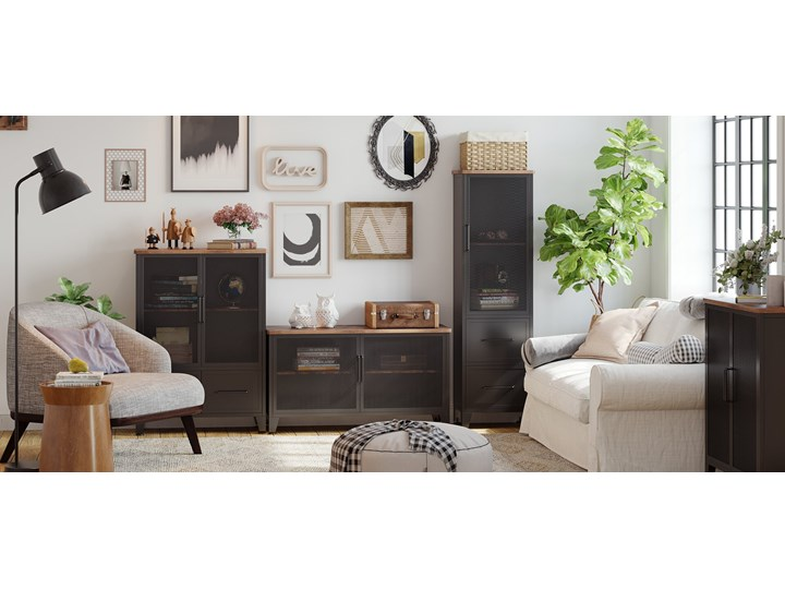 Bettso Pojemna komoda Rusty w stylu industrialnym / Rustic brown Wysokość 80 cm Szerokość 75 cm Szerokość 80 cm Kolor Brązowy