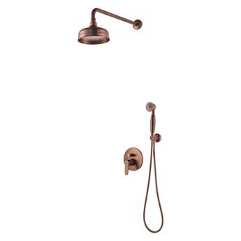 Art Deco zestaw prysznicowy podtynkowy miedź antyczna SYSAD28ORB