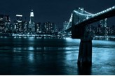 Manhattan, Brooklyn Bridge nocą - fototapeta
