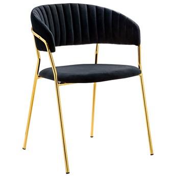 Czarne tapicerowane krzesło pikowane w stylu glamour - Piano 2X