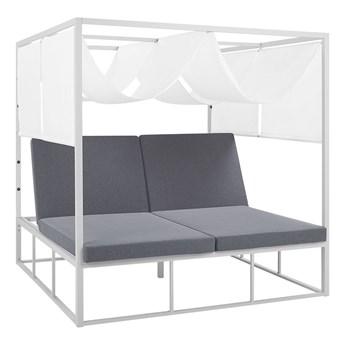 Łóżko ogrodowe z baldachimem biało-szare aluminium 2-osobowe regulowane oparcia