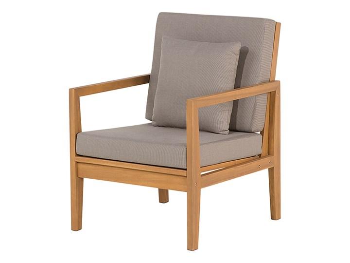 Zestaw ogrodowy szary jasne drewno akacjowe 2 ławki 1 fotel 1 leżak 1 stół poduchy retro Tworzywo sztuczne Zestawy wypoczynkowe Zawartość zestawu Stolik Zestawy kawowe Styl Vintage