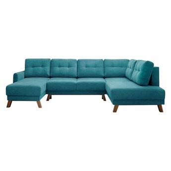 Turkusowa sofa rozkładana w kształcie U Bobochic Paris Balio, prawostronna