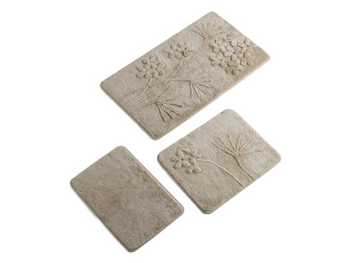 Zestaw 3 beżowych dywaników łazienkowych Flowers 60x100 cm Prostokątny Kategoria Dywaniki łazienkowe