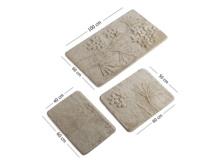Zestaw 3 beżowych dywaników łazienkowych Flowers Prostokątny 60x100 cm Kategoria Dywaniki łazienkowe