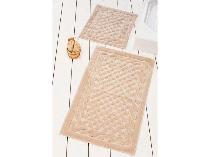 Komplet 2 beżowych bawełnianych dywaników łazienkowych Bambi Prostokątny 60x100 cm Bawełna Kategoria Dywaniki łazienkowe