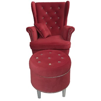 Fotel z podnóżkiem do salonu Glamour - USZAK 6 z kryształkami