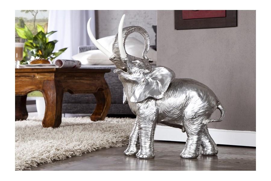 Iinterior Elefant Figurka Srebrna Tworzywo Sztuczne I21383