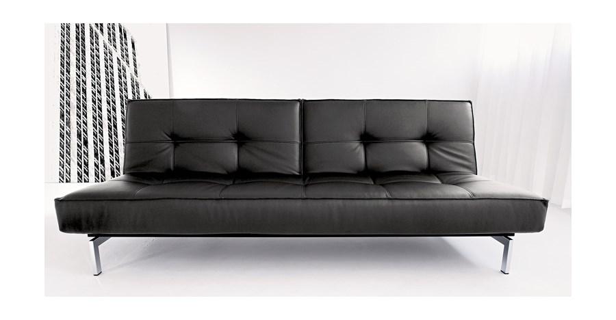 Wszystkie nowe Innovation Istyle Splitback Sofa Rozkładana, Czarna Skóra YL53
