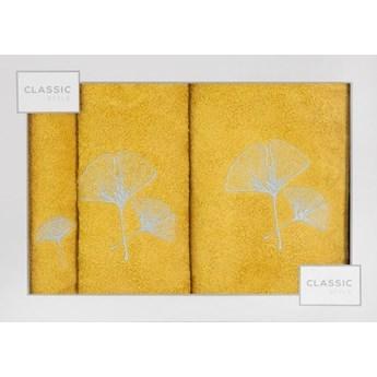 Kpl.3 ręczników BILOBA musztardowo-srebrny 380