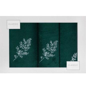 Kpl.3 ręczników KAMIL ciemno zielono-srebrny 380