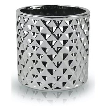 Doniczka tłoczona srebrna cylinder 13/14 cm